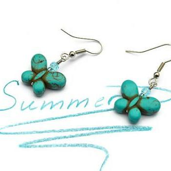 Turquoise butterfly gemstone summer earrings. Fashion trend jewelry